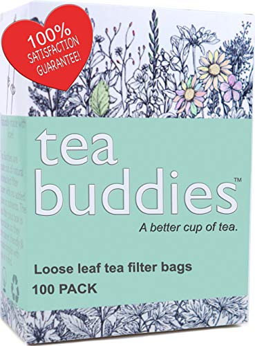 (Simple, Fast, All Natural Tea Filter Bags for Loose Leaf Tea, Coffee, Spice's. 100 Empty Tea Bags With Drawstring - Eco Safe Unbleached Material - Disposable Tea Infuser Sachets)