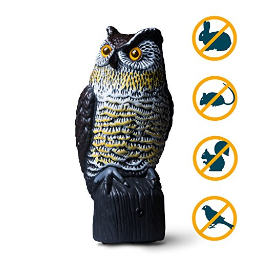 "NoPests Bird Owl Decoy Motion Activated Décor - ""Hooty"" Owl Decoy to Scare Birds Away with Owl Decoy Solar Powered Batteries + Owl Decoy Mounting ()"