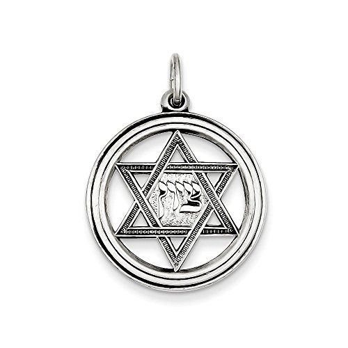 Sterling Silver Antiqued Star of David Disc Charm Pendant (0.98 in x 0.91 in)