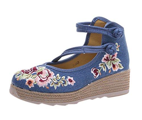 Insun Jane Correa Zapato Bailarinas Azul Estilo Hebilla con Mary Plataforma r7xUrwBaq8