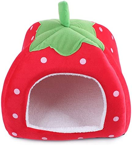 KOMIA Strawberry Style Dog Small House Cave Soft Pet Bed Modern Puppy Dog Cat Bed Covers