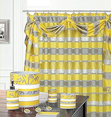 BH Home Venezia Fabric Shower Curtain With Scarf Made Out 100 Polyester Veneiza