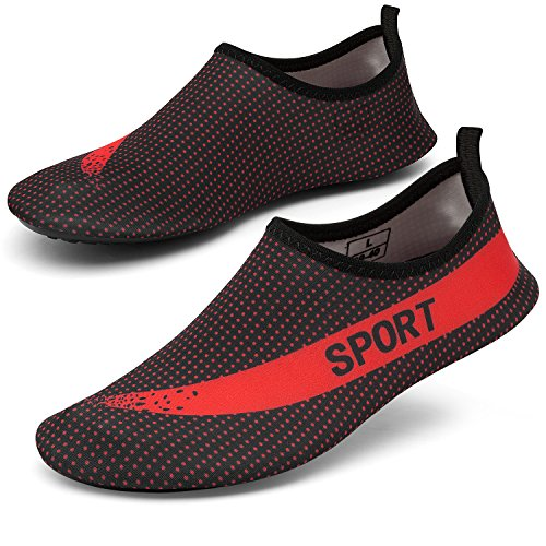 CASMAG Männer Frauen Quick-Dry Wasser Schuhe Barfüßig Aqua Socken Für Yoga Strand Schwimmen Pool Übung Surf Schwarz Rot