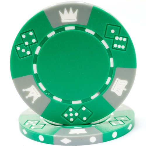 Trademark Poker Triple Crown Tri-Color 100 Poker Chips, 11.5gm, Green