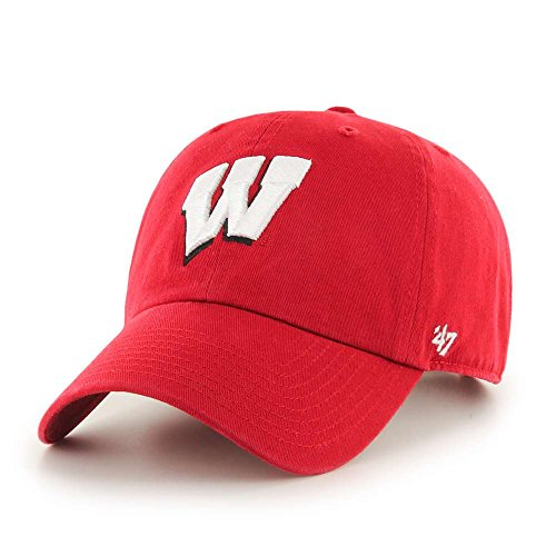 - '47 NCAA Wisconsin Badgers Brand Clean Up Adjustable Hat, Red 1, One Size
