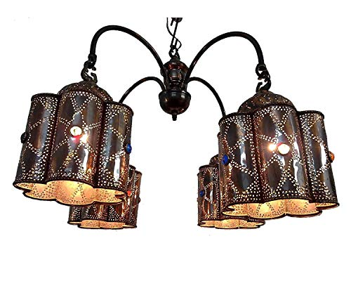BR44 Vintage Reproduction Egyptian Jeweled Spider Brass Chandelier]()