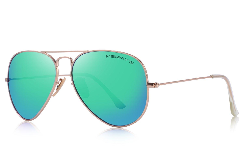 MERRY'S Classic Aviator Men/Women Pilot Polarized Sunglasses 58mm S8025 (Gold&Green, 58)