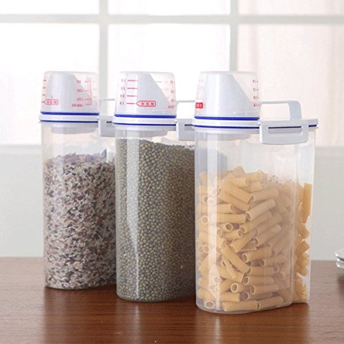 MK Shoppy Kitchen Food Cereal Grain Bean Rice Hand With Measuring Cup Plastic Plastic Storage - Canada Outlet Mk