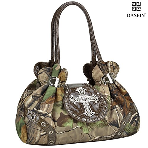 (Dasein in Realtree Camouflage Purse Studded Shoulder Bag with Rhinestone Cross)