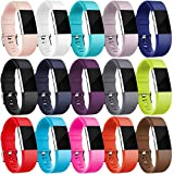 For Fitbit Charge 2 Bands (15 Pack), Maledan Replacement Accessory Wristbands for Fitbit Charge 2 HR, Small