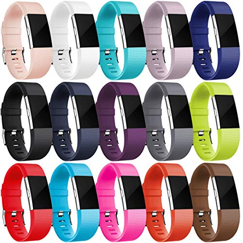 Maledan Replacement Bands Compatible for Fitbit Charge 2, 15-Pack, Large