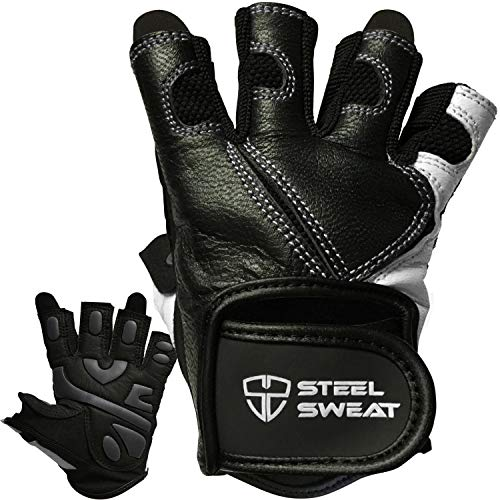 - Steel Sweat Workout Gloves - Best for Weightlifting Gym Fitness Training and Crossfit – Made for Men and Women who Love Lifting Weights and Exercise - Leather SCARR Black Medium