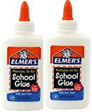 Office Products : Elmers White Washable No Run School Glue, 4 oz Bottle, 2 Pack