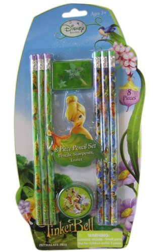 Disney Fairies 8pc Tinkerbell Pencil Set - Tinkerbell School Supplies - (Tinkerbell Stationary)