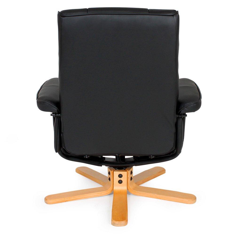 Dunkle Fu/ßkreuz | Nr. 401438 Diverse Modelle TecTake Fernsehsessel mit Hocker TV Sessel kippbar drehbar aus schwarzem Kunstleder mit Holzf/ü/ßen