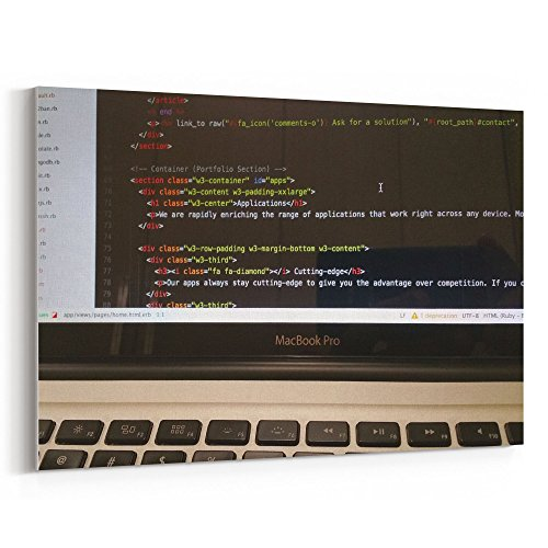 Westlake Art - Computer Laptop - 12x18 Canvas Print Wall Art - Canvas Stretched Gallery Wrap Modern Picture Photography Artwork - Ready to Hang 12x18 Inch (Html Side Bar)