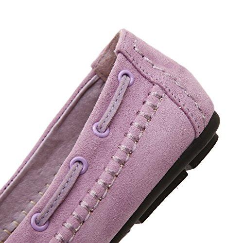 Weenfashion Kvinnor Pull-on Rund Sluten Tå Flats-skor Med Dekoration Lila (knut)
