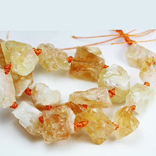 (One full strand Beatuiful Raw Citrine Nugget Gemstone Strand, Center drilled Natural shape,about 2525mm Nugget,hole2mm -GEM0722 )