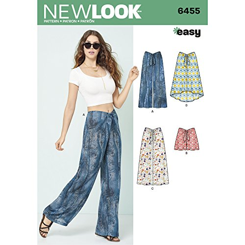 NEW LOOK Patterns Misses' Tie Front Pants, Shorts and Skirts A (10-12-14-16-18-20-22) 6455