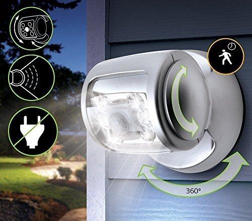Sensor de Movimiento Luz 6 LED Plata Seguridad Luz Para Exteriores - funciona con pilas rotativo