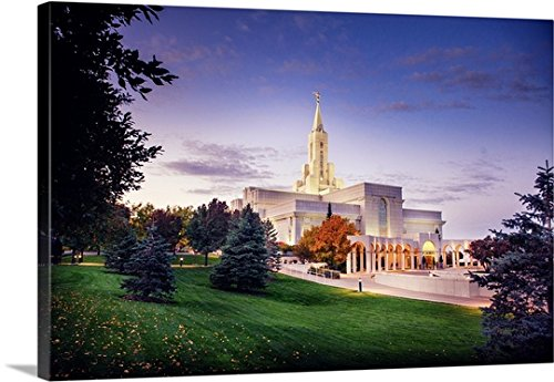 Scott Jarvie Premium Thick-Wrap Canvas Wall Art Print entitled Bountiful Utah Temple, Fall Sunrise, Bountiful, Utah by Canvas on Demand