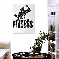 "Warm Family Fitness Stickers Wall Home Grunge Man Woman Silhouettes Working Out Muscles Strong Training Couple Fashion Stickers Wall 24""x36"" Black White"