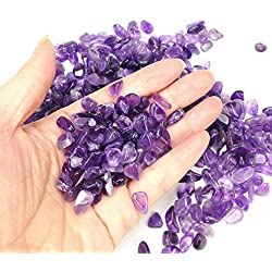 TR318 Purple Crystal Amethyst Pebble Gravel for Fish Turtle Tank Landscape Bottom Decoration Brand Colorful Opal Glass Sand Stone Rocks Glass Ornament for Fantastic Garden or Yard 0.55lb (Amethyst)