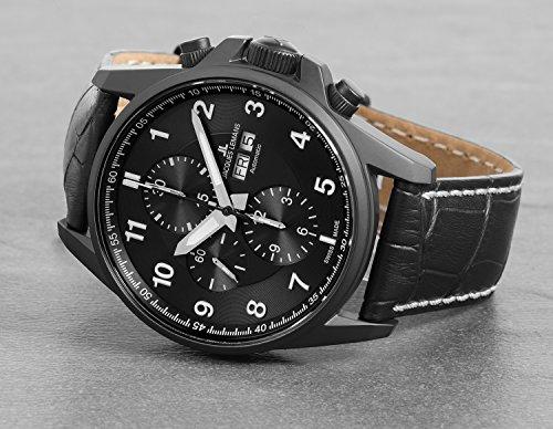 Jacques Lemans herr Chronograph Automatik Smart Watch armbandsur med läderarmband 1-1750C