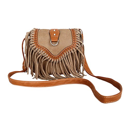 Womens Ladies Girls Retro Vintage Tassel Fringe Saddle Cross Body Satchel Fashion Suede PU Leather Mini Small Tribal Purse Hippie Hobo Travel Sling Crossbody Shoulder Messenger Bag Tote Handbag Hippie Suede Shoulder Bag