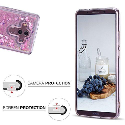 Funda Huawei Mate 10 Pro, Caselover 3D Bling Silicona TPU Arena Movediza Carcasa para Huawei Mate 10 Pro Glitter Líquido Brillar Lentejuelas Suave Transparente Cristal Protección Caso Anti Arañazos Ta Rosado