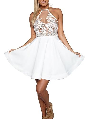 Simplee Apparel le donne d'estate embroiderd scollatura pronunciata un top scollato adatto e bengala mini vestito di pizzo festa