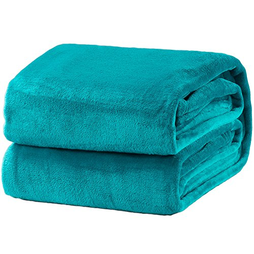 Bedsure Flannel Fleece Luxury Blanket Peacock Blue Twin Size Lightweight Cozy Plush Microfiber Solid Blanket