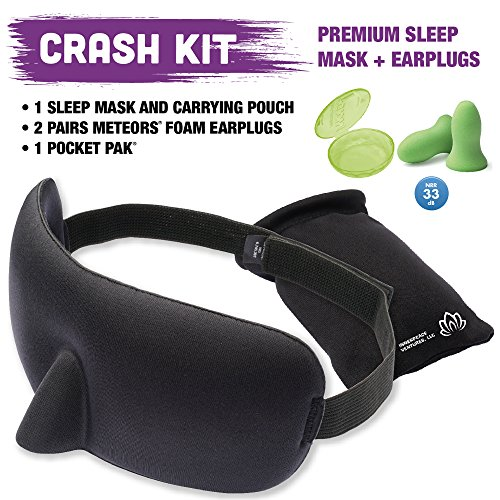 Special Kit (Crash Kit Sleep Mask has Special Nose Padding that Seals Out Light - Moldex- Ear Plugs- Blindfold - from Innerpeace Ventures lets you Blink Easy and Sleep Soundly)