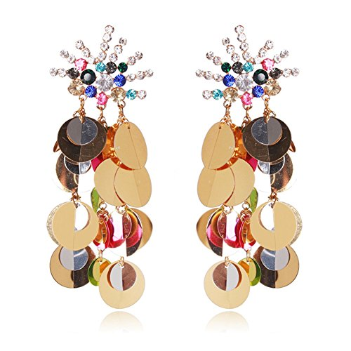 Country Western Dance Competition Costumes (Women Tassel Sequins Dance Earrings Ear Stud Fashion Jewelry Long, Colorful)