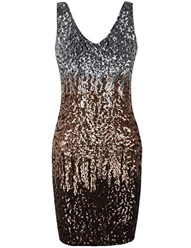 (PrettyGuide Women Sexy Deep V Neck Sequin Glitter Bodycon Stretchy Mini Party Dress S Silver/Rose Gold/Coffee)