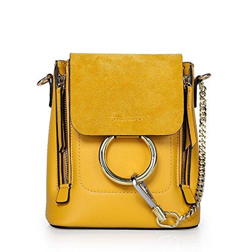 GUANGMING77 Borsa _ Estate Piccolo Zaino Oblique Zaino Borsa Tracolla Messenger Bag,Anello Verde Oliva Lemon yellow