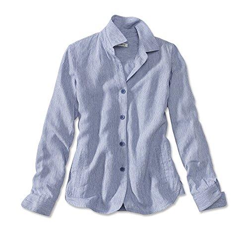 Orvis Women's Shoreline Linen Shirt Jacket, Blue Stripe, Large (Shoreline Blue Jackets)