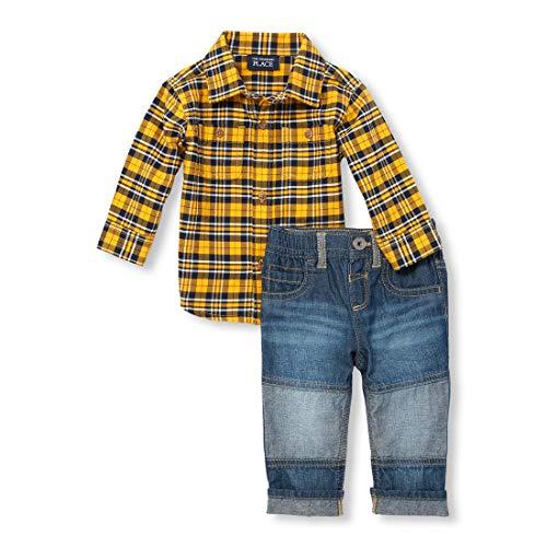 (The Children's Place Baby Boys Plaid Pants Set, Denim,)