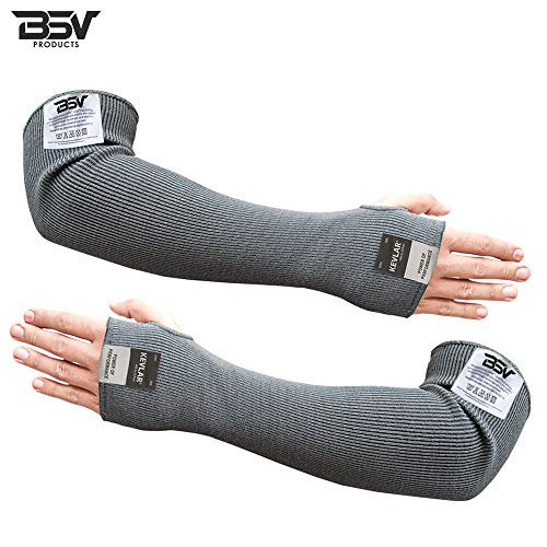 Cut/Scratch Resistant Kevlar Arm Sleeves with Thumb Hole - 18 inches (Black) (Forearm Sleeve Protective)