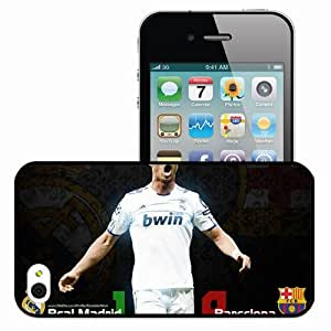 Personalized iPhone 4 4S Cell phone Case/Cover Skin Cristiano ronaldo punished fc barcelona in copa del rey final match real madrid Black