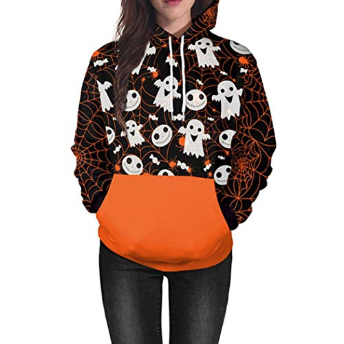 Women Men Halloween Costume Scary Skull 3D Print Hoodie Pumpkin Sweatshirt Top (H,XX-Large) -
