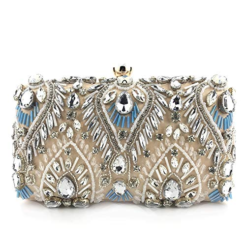Mirris Pearl Evening Bags And Clutches For Women Beaded Sequin Design Flower Evening Purse Large Clutch ()