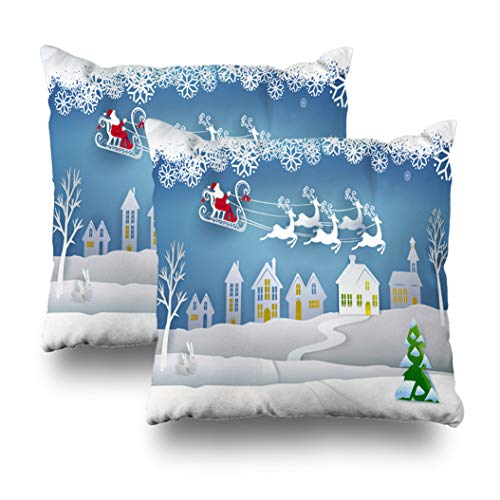 Geericy Set of 2 Decorative Throw Pillow Covers Santa Claus Sleigh Reindeer Sky White Winter Snow Landscape Happy New Year Cushion Cover 18X18 Inch for Bedroom Sofa