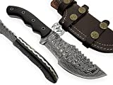 Beautiful Buffalo Horn Handmade Damascus Steel Tracker Hunting Knife Prime Quality For Sale