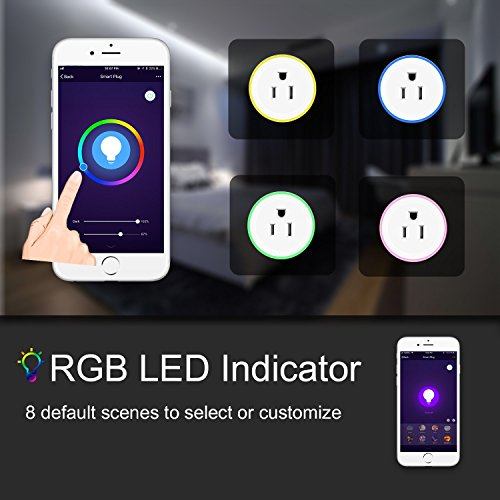 Alquar Wifi Smart Plug, Work With Alexa Google Home,with Ambient LED Night Light, Compatible With Voice Activated Devices Echo Dot Accessoires,Remote Mini Outlet Multi-function Socket Swtich by Alquar (Image #5)
