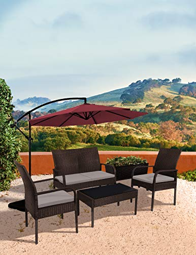 WO WESTIN OUTDOOR Sonoma 4 Piece Wicker All-Weather Resin Rattan Conversation Sofa Set with Cushions & Tempered Glass Coffee Table