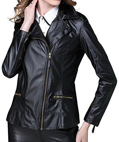 LOKOUO Fashion Women's Laple Collar Slim Fit Motorcycle PU Leather Jackets (Yankees Leather Jacket)
