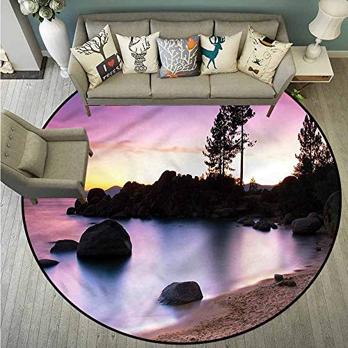 (Indoor/Outdoor Round Rugs,Nature,Landscape Lake Tahoe,All Season Universal,4'7