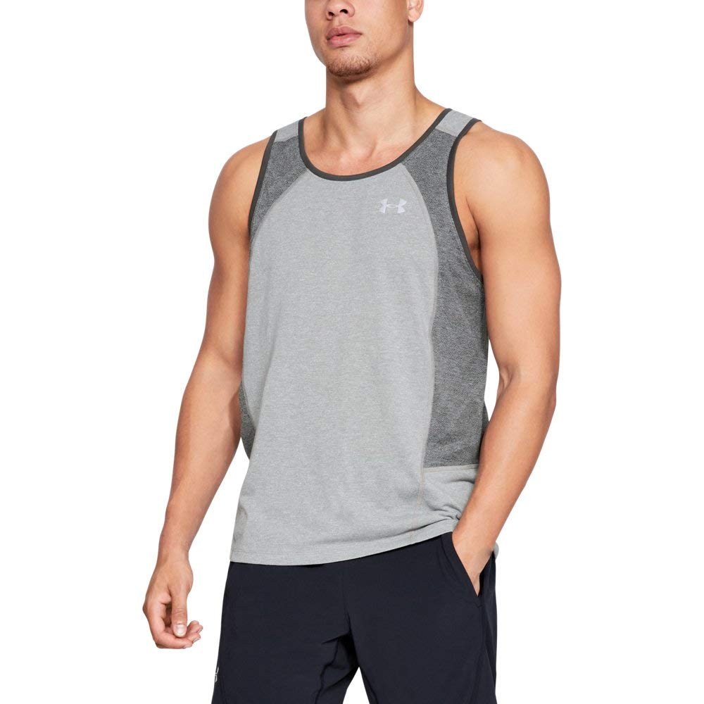 Under Armour Men's Swyft Singlet , Steel Light Heather (035)/Reflective, Small