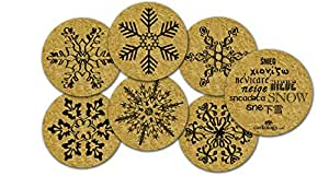 Corkology Snowflakes Coaster Set, Cork
